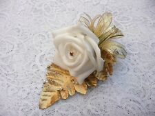 Wedding flower buttonhole White rose & Gold..... PIN ON