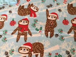 Handmade Christmas flannel pet blanket, Sloths!