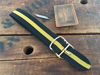 17mm Perlon 1-Piece Regimental Racing Stripe 1960s Vintage Watch Band NOS Unused