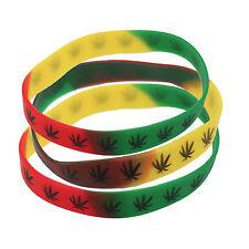 3 Rasta Silicone Bracelet Weed Leaf Wrist Band Hippie Rasta Reggae Jamming RGY