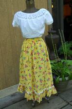 Vintage 1970's Floral Boho hippie Praire Ruffle Maxi Skirt 28 W