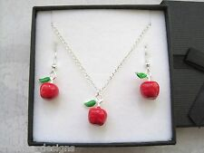 3D RED APPLE GREEN LEAF Enamel Charm SP Necklace Earrings Set Gift Box Xmas