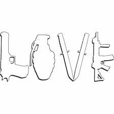 LOVE Ar15 Ak47 M16 Assault Rifle 44 Magnum Grenade Handguns Firearms Stickers