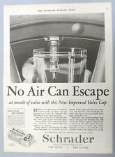 Original 1926 Schrader Tire Valve Cap Ad 10 x 13.5 NO AIR CAN ESCAPE WATER TEST