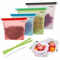 Refillable Silicone Food Storage Bags 4 Pack Airtight BPA Free Snack Bags +Bonus