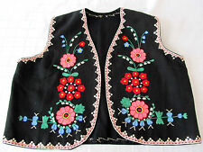 ANTIQUE EMBROIDERY RARE ORIGINAL OLD WOOL HANDMADE EMBROIDERED HOMESPUN VEST