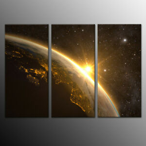 Home Decor Canvas Print Painting Wall Art Planet Earth Space Star 3pcs-No Frame