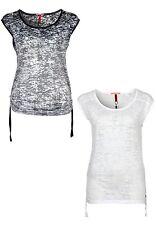 s.Oliver Kurzarm Damenblusen, - tops & -shirts mit Rundhals-Ausschnitt