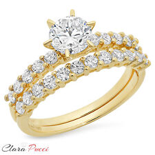 3.10 Carat Round Cut Solitaire Engagement Ring band set 14k Yellow Gold Bridal