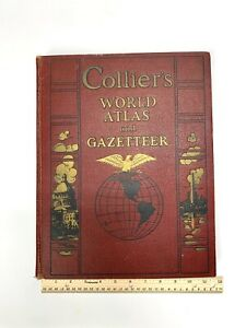 Colliers World Atlas and Gazetteer 1936 Book USA