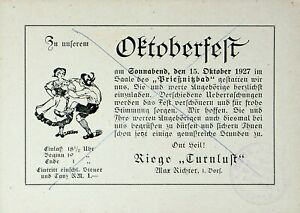 GERMANY 1927 OCTOBER TURN FESTIVAL ILLUSTRATED CARD