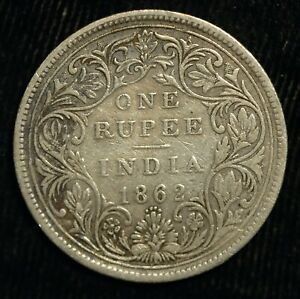 India Rupee 1862 4 Dots Bellow Date Victoria .917 Silver (T3)