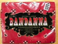 Vtg red bandana western workwear, orig unopened pkg-2 paisley pattern