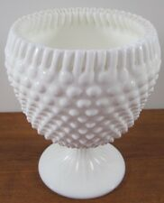"""7"""" Depression Milk Glass Ruffled Ribbon Edge Hobnail Candy Compote Dish Goblet"""