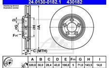 2x ATE Disques de Frein Avant Ventilé 320mm Pour JAGUAR S-TYPE 24.0130-0182.1