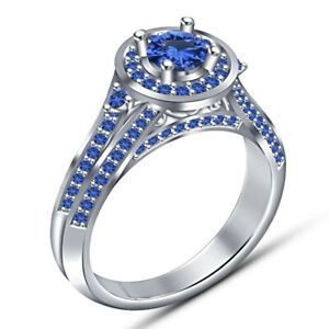 1.85 Ct Round Blue Sapphire Engagement Wedding Ring For Ladies 14K White Gold Fn