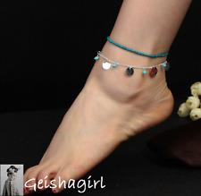 Elegant 2 x Anklets Elasticated Turquoise Silver Circle Disc Ankle Bracelet UK