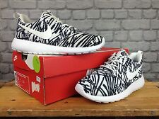 NIKE LADIES UK 5 EU 38.5 WILD ROSHE ONE PRINT WHITE BLACK TRAINERS RRP £80 ZEBRA