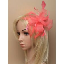 Coral Looped Net Ribbon & Feather Fascinator on Clear Comb