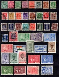 India - KGV, KGVI range of 102 stamps, nice collection MH/U (GA5)
