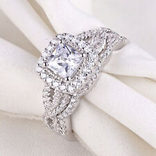 Engagement Wedding Ring Set For Women 1.4ct Princess Cz 925 Sterling Silver Sz 7