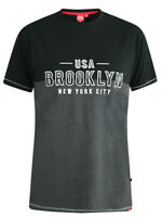 D555 DUKE KINGSIZE BIG MENS BROOKLYN T-SHIRT BLACK 2XL 3XL 4XL 5XL 6XL (KS60204)
