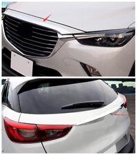 2pcs Chrome Front Hood + Rear Door Trunk Lid Cover Trim fit 2016-2018 Mazda CX-3