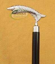 Vintage Brass Antique Fish Handle wooden foldable walking cane Stick Handmade