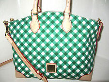 New Dooney & Bourke Green & White Dome Canvas And Leather Satchel Bag NWT $228