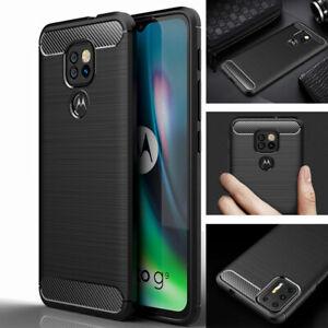 Premium Carbon Fibre Shockproof Slim Case Cover for Motorola Moto G9 Play / Plus