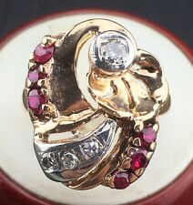 Art Deco 14k Rose Gold Ring w/ approx. 0.33 ct Diamonds and 0.50 ct Rubies total