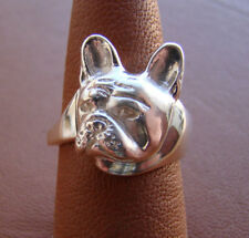 Sterling Silver French Bulldog Head Study Ring