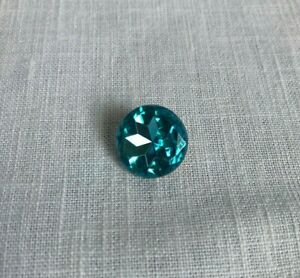 Faceted Glass Aqua Turquoise Button Metal Back Vintage 5/8 in