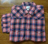 LUCKY BRAND Men Plaid Short Sleeve Shirt Button Down LINEN Red WhiteBlue XL EUC