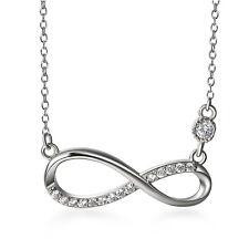 925 Sterling Silber Zirkonia Unendlichkeit Liebe Anhänger Womens Halskette Kette