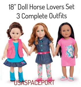 """18"""" Doll HORSE LOVER Cowgirl OUTFIT Boots Sleepwear FOR My Life as American Girl"""