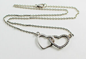 Sterling Silver 925 & Cubic Zirconia Double Linked Hearts Necklace