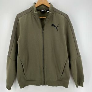 Puma Jacket Men's Size M Olive Green Full Zip Logo Athletic Cotton