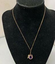 "10k Yellow Gold Oval Amethyst Elephant Charm Pendant 18""  Chain"