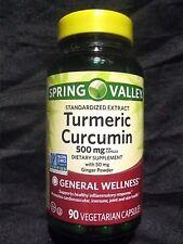 SPRING VALLEY TURMERIC CURCUMIN 500mg/GINGER 50mg 90 VEGETARIAN CAPS 04/19