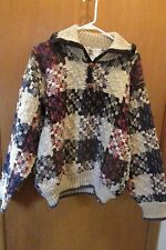 Rainbow Crafts Handmade Sweater Pull Over 100% wool, collar, wooden Buttons