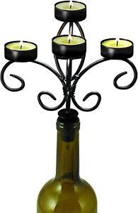Boulevard Twine 5 Tier Wrought Iron Wine Bottle Candelabra Black Matte No 2119