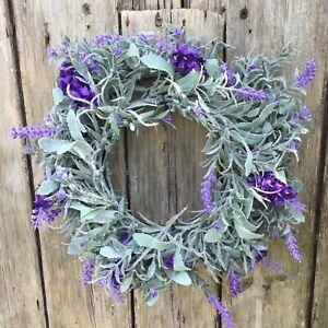 Lavender Door Wreath Gisela Graham Artificial Door Wreath - Medium 25cm x 9cm