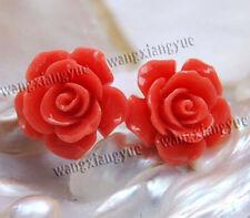 15mm Red Japan Sea Coral Hand Carved Flower Earrings Silver Stud AAA