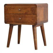 Artisan Range Solid Wood 2 Drawer Curved Bedside Cabinet Table