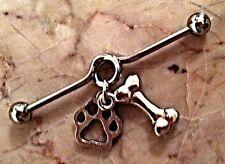 "Paw Surgical Steel Silver 1.5"" 14g Industrial Ear Barbell Loop Dog Bone &"