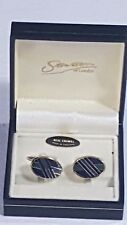 Stratton of London Cufflinks Boxed Oval Enamelled Blue & Green on Gold No25