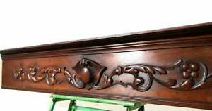 Flower blazon scroll leaf carving pediment Antique french architectural salvage