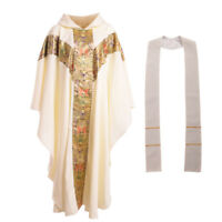 Blessume White Church Clergy Vestments Catholic Cassock  Priest Chasuble Cope