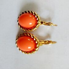 Boucles d`Oreilles Dormeuse Doré Ovale Orange Corail Saumon Class Retro CC10